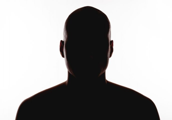 silhouette of the man on a white background